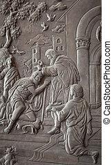 jesus carving - jesus silver carve art as background