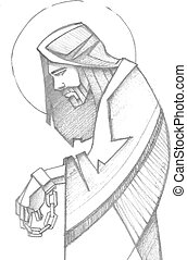 Jesus chained at his Passion - Hand drawn pencil vector...