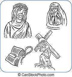 jesus christ, és, biblia, -, vektor, ábra