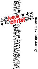 Jesus Christ Abstract Cross 3D Word Cloud Concept Vector