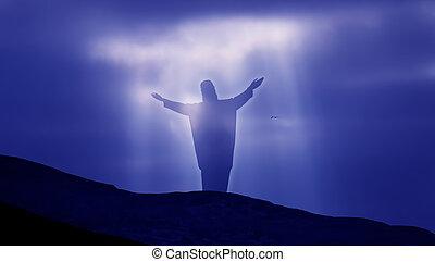 Jesus Christ against beautiful sky background