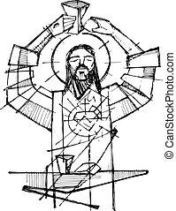 Jesus Christ and Eucharist symbols illustration - Hand drawn...