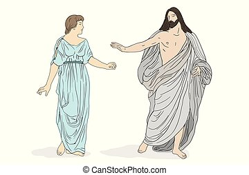 Jesus Christ and Mary Magdalene stand and lead a dialogue. Vector image isolated on white background.