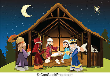 A vector illustration of Christmas concept of the birth of Jesus Christ with Joseph and Mary accompanied by the three wise men