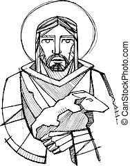 Jesus Christ as Good Shepherd carrying a sheep