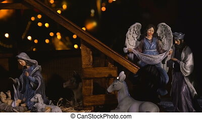 Jesus Christ birth in stable Christmas scene - Jesus Christ...