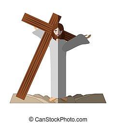 jesus christ carries cross via crucis shadow