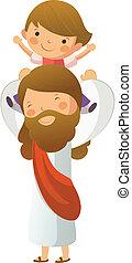 Jesus Christ carrying boy on shoulder