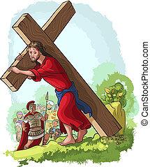 Via Crucis. Jesus carrying cross