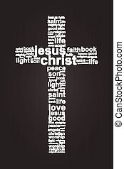 Jesus Christ Christian Cross Word Cloud On Blackboard