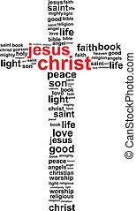Jesus Christ Cross Word Cloud Concept