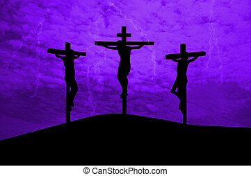 Jesus Christ crucified - Three crosses on a hill