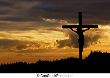 Silhouette of Jesus Christ crucifixion on cross on Good Friday Easter
