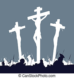 Calvary crucifixon scene with three crosses. Vector Illustration.