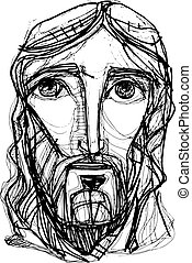 Jesus Christ expressionist Face - Hand drawn vector...