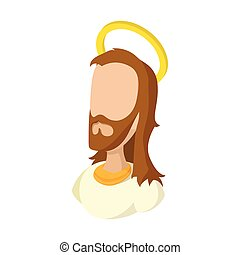 Jesus Christ face cartoon icon on a white background