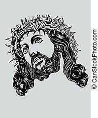 Jesus Christ face, art vector design