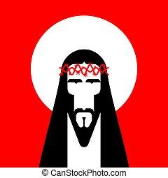 Jesus Christ Face. Gods Son. Biblical religious vector illustration