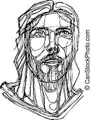 Jesus Christ Face hand drawn illustration