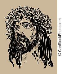 Jesus Christ Face - Jesus,Face, art vector sketch drawing...