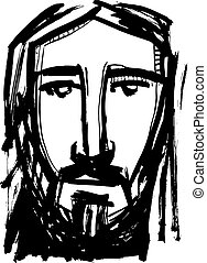 Jesus Christ Face ink hand drawn illustration