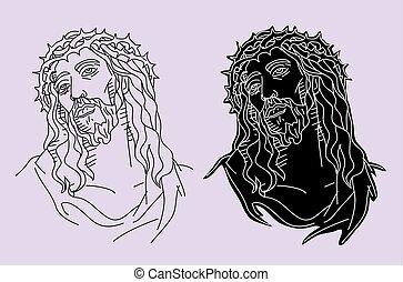 Jesus Christ Face Silhouette, art vector design