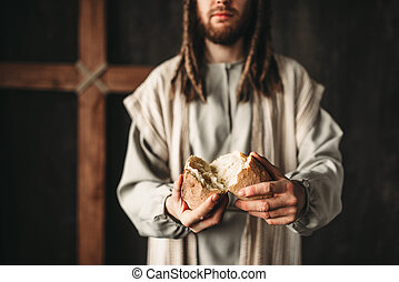 Jesus Christ gives bread to faithful, sacred food