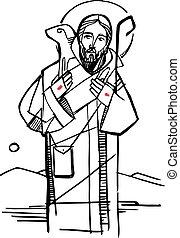 Jesus Christ Good Sheperd illustration - Hand drawn vector...