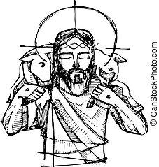 Jesus Christ Good Shepherd - Hand drawn vector illustration...