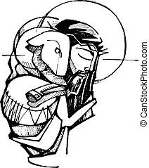 Jesus Christ Good Shepherd - Hand drawn vector illustration ...