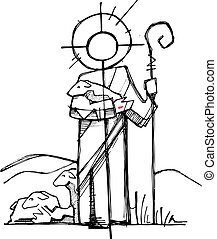 Hand drawn vector illustration or drawing of Jesus Christ as a Good Shepherd in a minimalist style