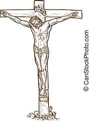 Jesus Christ hanging on the cross - hand drawn sketch...