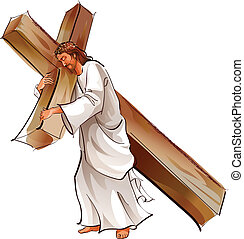 There is Jesus Christ walking with the cross