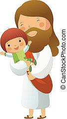 Jesus Christ holding girl