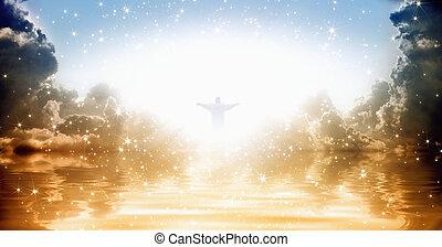 Jesus Christ in heaven - Jesus Christ silhouette in shining...