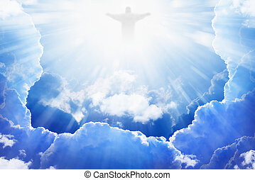 Jesus Christ in heaven - Jesus Christ in blue sky with ...