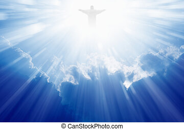 Jesus Christ in heaven - Jesus Christ in blue sky with...