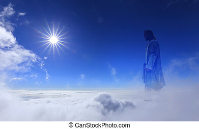 Jesus Christ in Heaven - Jesus Christ in sky with clouds...