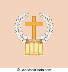 Jesus Christ is the Bread of Life - Laurel leaf surrounds...