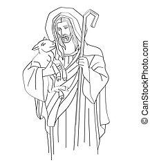 Jesus Christ is the good shepherd Line Art