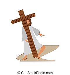 jesus christ meet virgin mary - via crucis station vector...