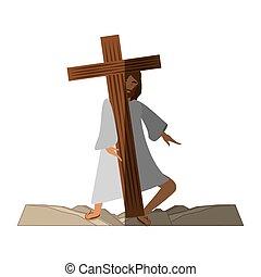 jesus christ meet virgin mary - via crucis shadow