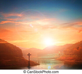 Jesus christ mercy at cross on mountain sunset background He belief to worship son of god
