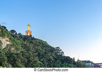 Jesus Christ monument sunset Lisbon