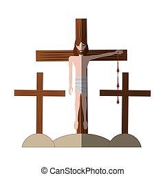 jesus christ nailed the cross shadow