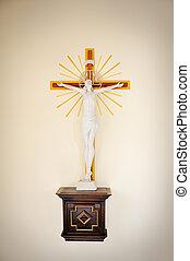 Jesus Christ on cross, wall in church