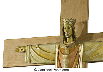 Jesus Christ on Crucifix detail isolated on white