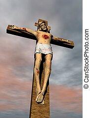 Jesus-Christ on the cross - 3D render
