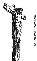 Jesus Christ on the Cross, black and white illustration
