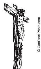 Jesus Christ on the Cross, black and white illustration